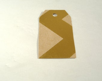 Gold Chevron Kraft Blank Gift Tags