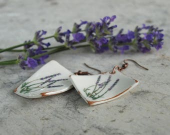 ceramic jewelry - earrings ornated by lavender motifs, blue, purple, hand made and painted, mediterranean, terracotta jewelry