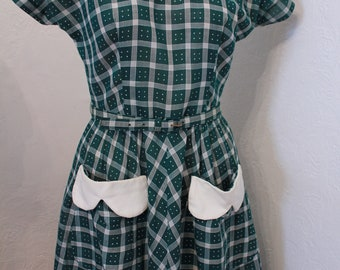 Vintage 1950s Green and White Gingham Swiss Dot Dress