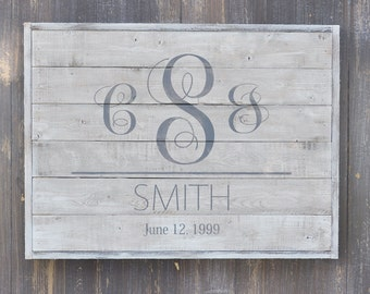 Wedding Sign, Bridal Shower Gift, Family Established Sign, Personalized Family Name sign, Rustic Wood Sign,  White Washed, Anniversary Gift