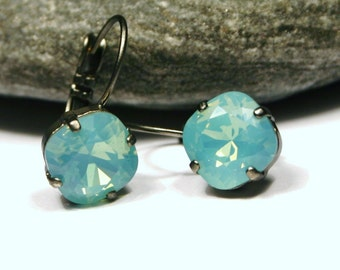 Aqua Green Opal Crystal Drop Earrings Classic Sparkling Teal Mint Seafoam Solitaire Swarovski 10mm Darlk Oxidized Gunmetal Finish Diamond