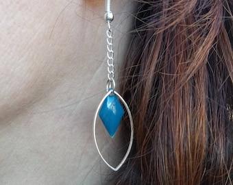 Earrings grey blue sequins