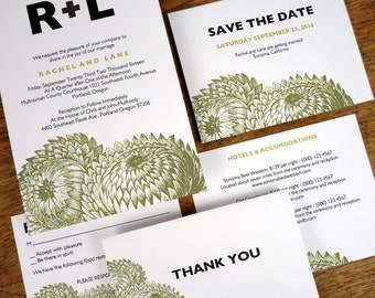 Printable Wedding Invitation Set - Thistle - Rustic Modern Wedding Printables - Instant Download PDF Wedding Invite, Save the Date and more