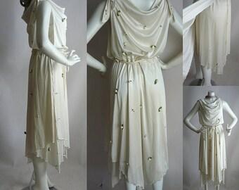 Amazing Draped Goddess Dress / 1970s Slinky Satin ROSEBUD Appliques All Over / IVORY White Garden Wedding / size 4 6 8 10 small