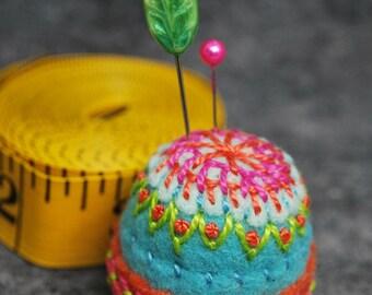 Made to order - made to order Pinwheel small Bottlecap Pincushion free usa ship