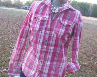Mildly Distressed plaid flannel shirt - bleached dipped splattered unique - vintage worn look - Size S (female) (#S54)