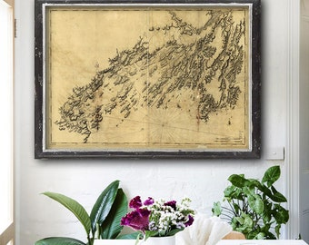"""Map of Casco Bay 1776, Portland Maine coast map in 3 sizes up to 54x36"""" Vintage nautical chart of Casco Bay Maine - Limited Edition of 100"""