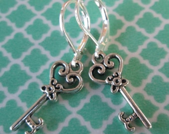 Silver Toned Heart Key Charm Earrings - Iron Leverback Earrings - Key Earrings