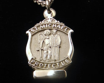 St. Michael medal sterling silver patron Saint of police Officers Nickel Free Medal