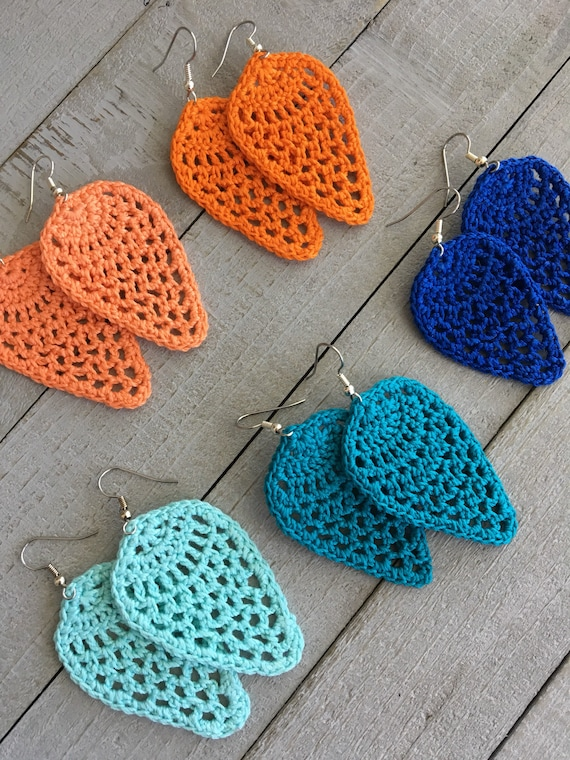 Teardrop Crochet Earrings - Lightweight Dangle Earrings in Bright Colors