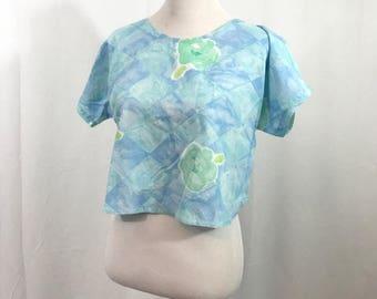 Vintage 1980s Floral Cotton Crop Top M
