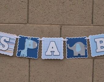 Giraffe and Elephant Baby shower Banner. It's A Boy.