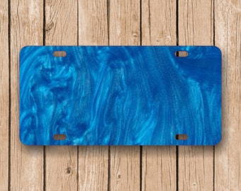 Ocean Blue Ripple Acrylic License Plate