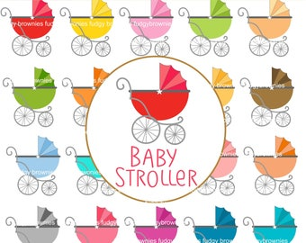 ON SALE Rainbow Baby Stroller Clip Art _ Cute Pram Clip Art, Baby Carriage Clipart, Planner Stickers,Printable,Digital Scrapbook