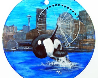 Hand Painted Glass Ornament - Orca, Space Needle and Big Wheel