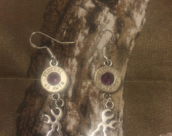 Bullet Earrings with Amethyst Swarovski Crystal /  .45 auto Dangle earrings