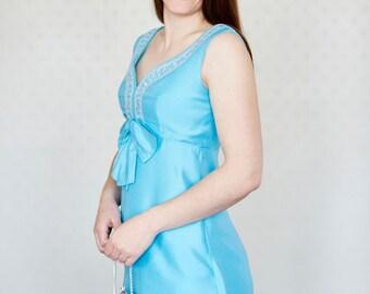 Final Reduction - Vintage Blanes Turquoise Dress, Bow, Silver Embroidery &  Diamante Trim - UK Sz 12 US Sz 8/10 Eur Sz 38/40 - 1960/1970s