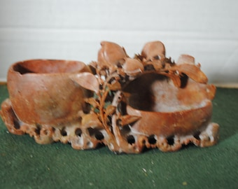 Genuine Beautiful Soapstone Carving about 6 1/2 inches long and about 3 inches tall