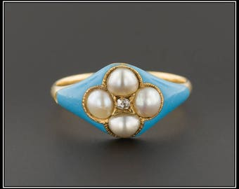 Antique Blue Enamel Ring | 14k Gold Ring | Turquoise Enamel Ring | Antique Ring | Diamond & Pearl Ring | Victorian Ring