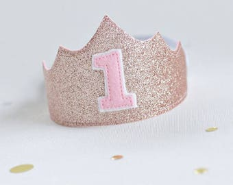 Rose Gold First Birthday Crown -First birthday Girl outfit -Princess Tiara first birthday Crown- 1st Birthday crown girl- cake smash outfit