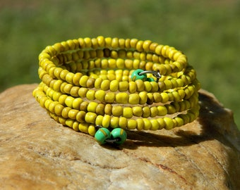 Yellow Indonesian Bead Boho Bangle