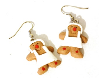Christmas Earrings: Gingerbread Chef Baker Repurposed Christmas Ornament Earrings - Womens Jewelry - Holiday Earrings - Cookie Earrings