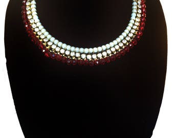 Red Victorian BIB Necklace,prom Red & gold StatementJewelry,Pearl Collar Necklace,wedding jewelry,bridal accessories,crystal jewelry