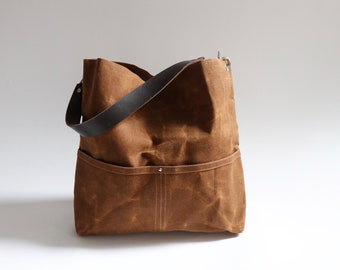 Bucket Bag,  Waxed Canvas Tote, Hobo Bag