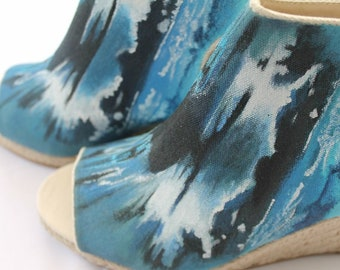 One of a kind summer 'skyhigh' hand painted heels wedges sandals