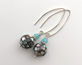 Paua Shell Earrings. Abalone Shell Mosaic Beads with Blue Agate and Sterling Silver