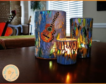 Guitar Candle Holder Set // stained glass mosaic candle holder set // stained glass guitar // guitar candle holder // mosaic candle holder