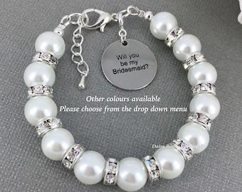 Will you be my Bridesmiad Bridesmaid gift Bridesmaid Bracelet Bridesmaid Jewley Pearl Jewelry Wedding Jewelry