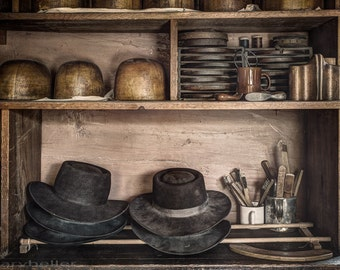 The Hatters Shelves 2, Hat Molds and Tools, 19th Century, Vintage photograph, Milliner, Millinery, Old World places and things Signed Print