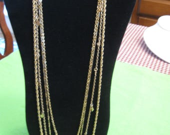 Four Strands Graduated Lengths Gold Tone Chain Necklace 32-Inches Long, 16-Inch Drop