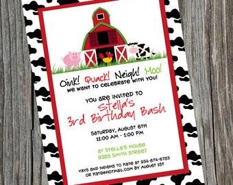 Barnyard Birthday Invitation. Farm Party Invitation.  Farm Birthday Invitation.  Barn Invite.  Barnyard Invitation. Farm Invite.