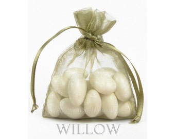 30 WILLOW Organza Bags, 6 x 9 Inch Sheer Fabric Favor and Gift Bags (bronze, greenish-tan)