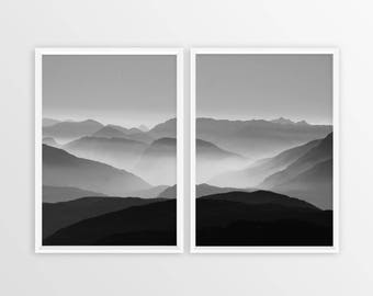 LANDSCAPE PRINT - Landscape Poster - 2 piece Landscape - Forest - Black and White Photography - Printable Poster - Forest Photography