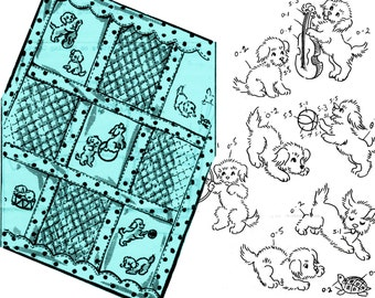 Puppy Baby Quilt Pattern Vintage Puppy Transfers Baby Shower Gift PLAYFUL PUPPIES COVERLET Crib Quilt Pattern Puppy Embroidery Pattern
