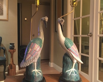 Very Rare Pair Of Hand Painted Cloisonne Styled Oriental Crane Lamps On  Stands
