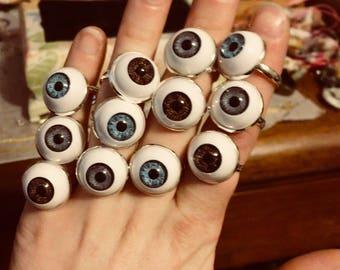 Eyeball ring, haunted jewelry, doll eyes, macabre jewelry, goth, festival wear