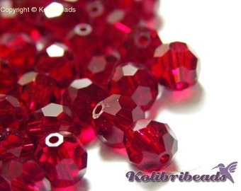 10 pc. Round Faceted Czech Crystal Beads 6 mm - Siam (Red)