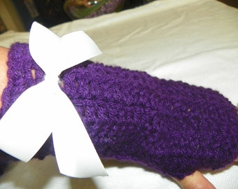 Gloves in Purple with Bows Choose from with Bows or Without