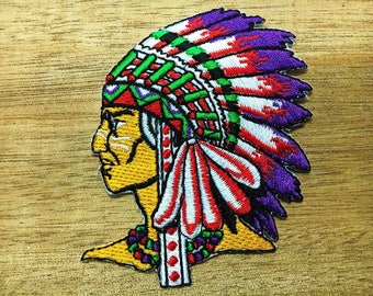 Native American Indian Pride Dreamcatcher Chief Embroidered Iron On Patch