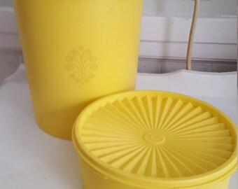 Set of 2 Vintage Yellow 1970's Canisters with Lids Canister Sets