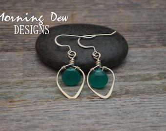 Sterling Silver & Green Chalcedony Gemstone Briolette Teardrop Earrings