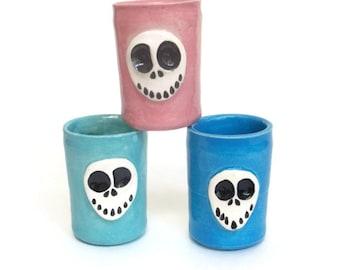 Ceramic Shot Glass Set SKULLY Shot Cups by JMNPottery