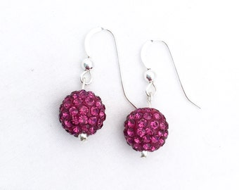 Dark pink Pave' crystal earrings, crystal ball earrings, pink crystal earrings, sterling silver crystal earrings, rhinestone crystal balls