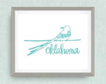 Oklahoma Art Print, Scissor-tailed flycatcher, option of Gold Foil Print