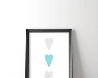 Long Distance Gifts - Heart Print - Love Poster - Husband Gift - Wall Art - I Love You Printable - Love Wall Decor - Wall Decor - Love Art