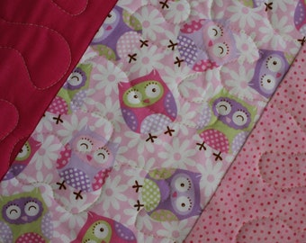 Baby Girl Quilt, Baby Quilt, Toddler quilt, Baby Shower, Baby Owl quilt, Animal Quilt, Baby bedding, Baby Girl nursery, Baby girl blanket